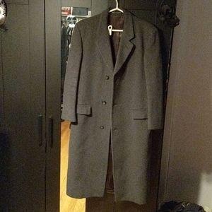 "Vintage 40"" R Grey Wool Cashmere Blend Trench Coat"